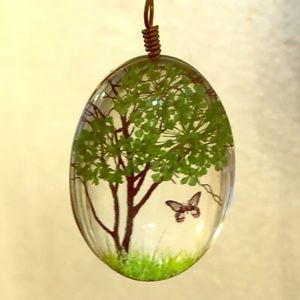 Green Tree and butterfly pendant